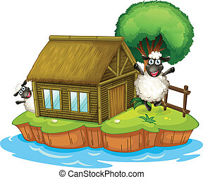 An island with a native house and two sheeps - Illustration...