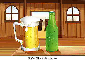 A beer and a bottle of softdrink at the table - Illustration...
