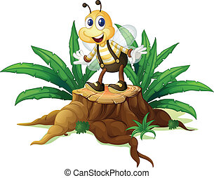 A stump with a happy bee - Illustration of a stump with a...