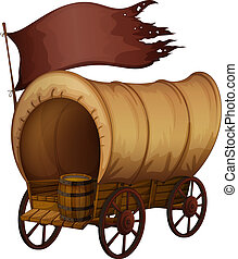 A wooden carriage - Illustration of a wooden carriage on a...