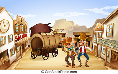 Two dangerous armed men near the saloon bar