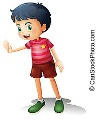 A boy with a stripe shirt - Illustration of a boy with a...