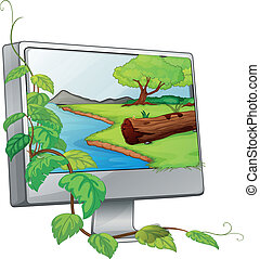 A monitor showing a river in a forest