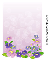 A purple stationery with flowers - Illustration of a purple...