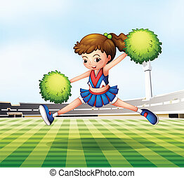 A cheerdancer with green pompoms at the soccer field
