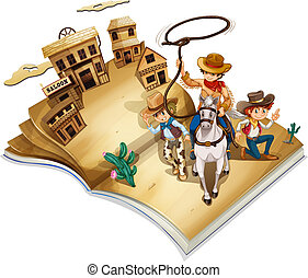 A book with an image of three cowboys