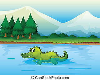An alligator in the river - Illustration of an alligator in...