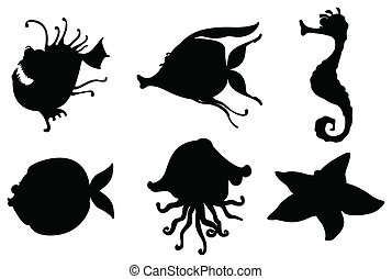 Silhouettes of sea creatures - Illustration of the...