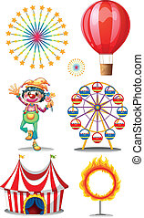 A carnival with clown - Illustration of a carnival with...