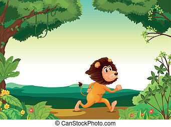 A lion running in the forest