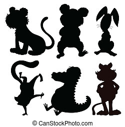 Six silhouettes of wild animals