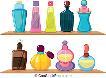 Wooden shelves with different perfumes - Illustration of the...