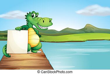 An alligator holding an empty board at the wooden bridge -...
