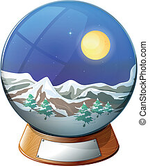 A dome with an image of a snowy mountain