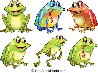 Six different frogs - Illustration of the six different...