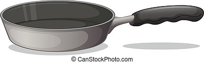 A gray cooking pan - Illustration of a gray cooking pan on a...