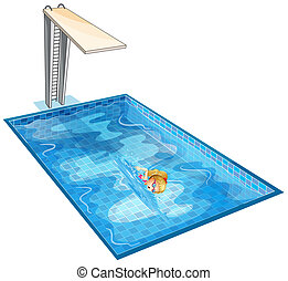 A girl swimming at the pool with a diving board -...