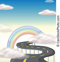 A long winding road going to the rainbow - Illustration of a...