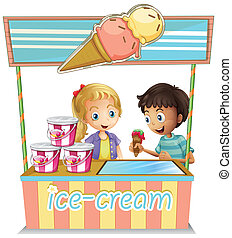 Two young kids at the ice cream stand - Illustration of the...