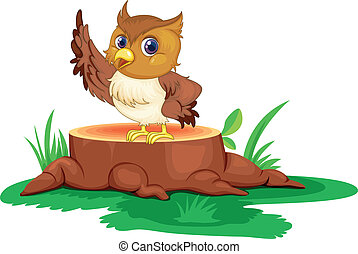 An owl on a stump - Illustration of an owl on a stump on a...