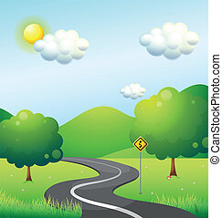 A curve road with a curve sign along the mountain -...