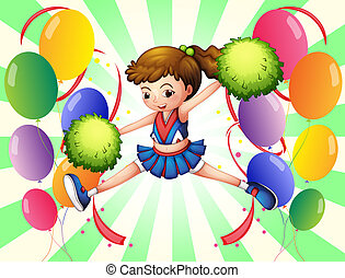 Colorful balloons with a young cheerer