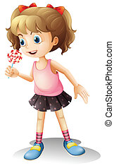 A child holing a lollipop candy - Illustration of a child...
