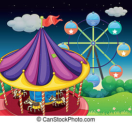 A carrousel with ferris wheel at the back - Illustration of...