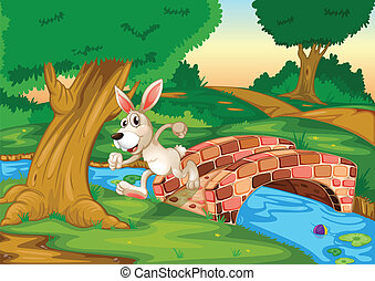 A bunny running across the bridge - Illustration of a bunny...