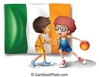 The flag of Ireland at the back of the basketball players