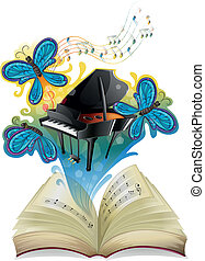 A musical book - Illustration of a musical book on a white...