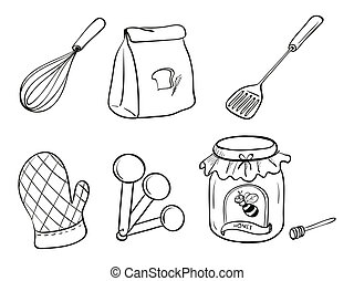 A doodle set of kitchen utensils, baking powder and honey...