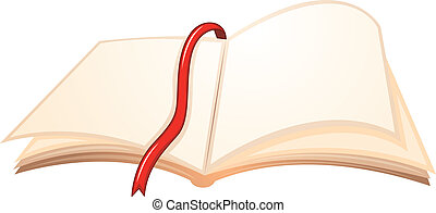 An empty book with a red bookmark - Illustration of an empty...