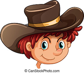 An image of a boy wearing a hat - Illustration of an image...