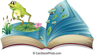 A book witn an image of a frog and fishes - Illustration of...