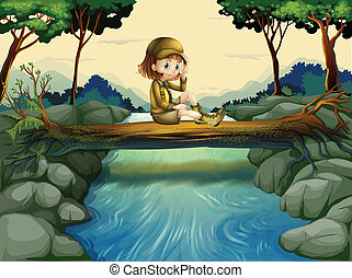 A girl sitting at the wood - Illustration of a girl sitting...