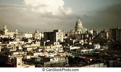timelapse of havana skyline, cuba