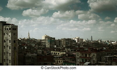 dramatic panning timelapse of the havana skyline, cuba