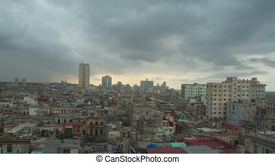day into night timelapse of the havana skyline and cuba