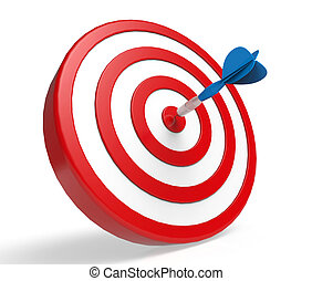 Blue Dart on Red Target isolated on white background. 3d...