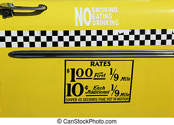 New York City taxi rates decal.