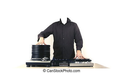 stopmotion animation of headless dj with piles of records...