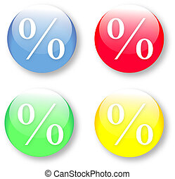 Per cent symbol icons - The glassy isolated vector...