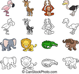 Cartoon Safari Animal Illustrations - A set of cartoon...