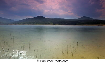 shot of pantano de boadella lake in catalyna spain