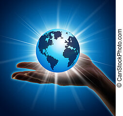 Image of hand holding earth planet