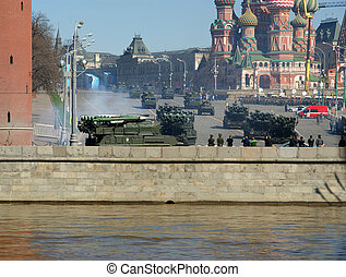 Rehearsal of military parade on Red Square Moscow, Russia....