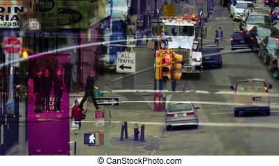 abstract layered manhattan street scene with traffic and people, nyc, america