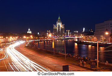 Kotelnicheskaya Embankment Building at night, Moscow,...