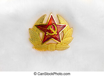 Communist emblem on a white fur hat